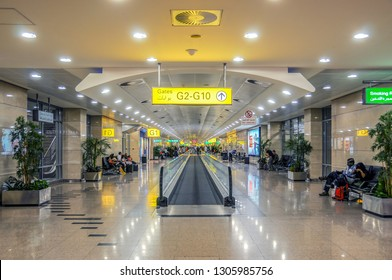 CAIRO, EGYPT - MAY 25, 2012: Interior of Cairo international airport departure terminal early in the morning.