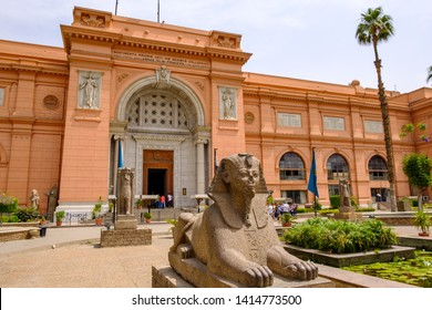 Cairo / Egypt - May 25th 2019: The Museum of Egyptian Antiquities (Egyptian Museum) which houses the world's largest collection of ancient Egyptian antiquities, Cairo, capital of Egypt