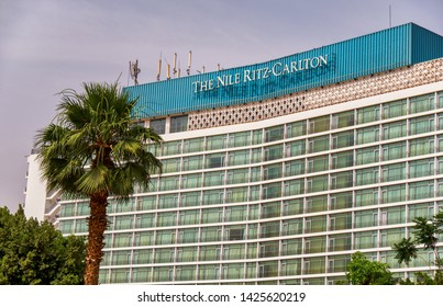Cairo / Egypt - May 25th 2019: The Ritz-Carlton in Cairo is a luxury hotel overlooking the Nile in close proximity to the Tahrir square and iconic Egyptian Museum.