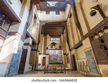 Cairo, Egypt- May 3 2015: Room at El Sehemy house, an old Ottoman era historic house in Islamic Cairo, built in 1648 with Interleaved wooden window (Mashrabiya) and fountain