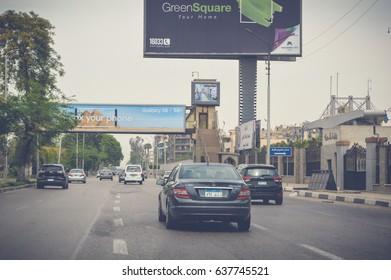 cairo, egypt, may 6, 2017: view of highway traffic at cairo ismaileya desert road