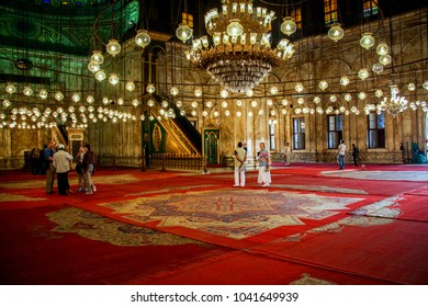 CAIRO, EGYPT - Nov 2009: Hanging lights in the interior of the Alabaster Mosque of Muhammad Ali Pasha at Cairo Citadel in Egypt