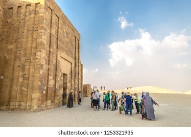 Cairo, Egypt - Nov 4th 2018 - A big line of tourists waiting to enter in a monument in Cairo, Egypt