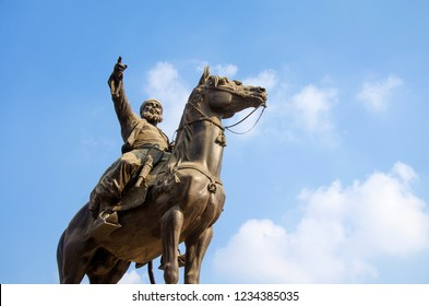 Cairo, Egypt - November 10, 2018: A statue of Ibrahim pasha a historical war hero with sky and clouds located in Saladin castle