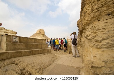 Cairo, Egypt – November 12, 2018: photo for Egyptian monuments showing the Pharaonic civilization and construction in the Pyramids of Giza in Cairo city capital of Egypt.