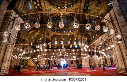 CAIRO, EGYPT - NOVEMBER 18, 2011: Interior of Mohammed Ali Mosque in Cairo, Egypt.