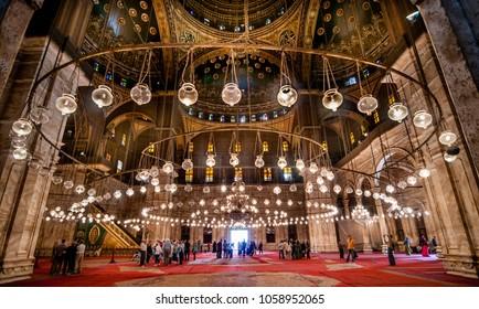 CAIRO, EGYPT - NOVEMBER 18, 2011: Interior of Mohammed Ali Mosque in Cairo, Egypt.