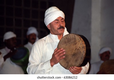 CAIRO, EGYPT - NOVEMBER 18 : Sufi musician in  Al Ghouri Medrese at 18, November, Cairo, Egypt. Sufi musician play music for a spiritual relation with Allah for the whirling dervishes.