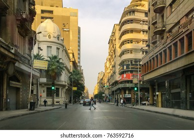 Cairo, Egypt, November 24 ,2017 : Traffic, downtown Cairo.