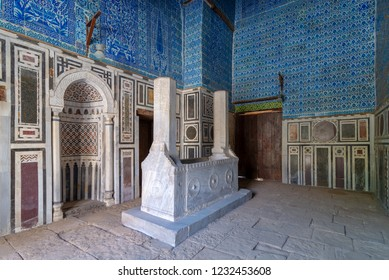 Cairo, Egypt - November 3 2018: Tomb of Ibrahim Agha Mustahfizan, attached to the Mosque of Aqsunqur (Blue Mosque), Bab El Wazir district, Old Cairo