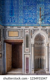 Cairo, Egypt - November 3 2018: Marble wall with mihrab (Embedded niche) at the Tomb of Ibrahim Agha Mustahfizan, Mosque of Aqsunqur (Blue Mosque), Bab El Wazir district, Old Cairo