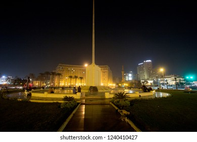 Cairo, Egypt – November 5, 2018: photo for Tahrir Square in the night in Cairo city capital of Egypt, and its witnessed most revolutions, and shows some buildings .