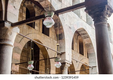 Cairo, Egypt - November 8, 2018: Columns, old islamic lanterns and arches at old mosque in Saladin castle