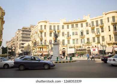 Cairo, Egypt – November 9, 2018: photo for Talaat Harb Street, One of the most important and famous streets in Cairo - located in the center of the country and extends from Tahrir Square through Talaa