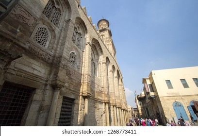 Cairo, Egypt – November 9, 2018: is one of the oldest streets in Cairo , and it is named for Al-Mu'izz li-Din Allah, the fourth caliph of the Fatimid dynasty, The picture shows the shape of a mosque ,