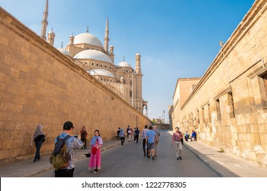 Cairo, Egypt - Oct 14 2018 : The medieval mosque of Sultan Hassan located on Salah El-Deen Square