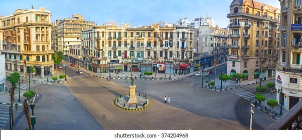 CAIRO, EGYPT - OCTOBER 10, 2014: Panorama of Talaat Harb square - the most popular and best known place in Downtown, on October 10 in Cairo.