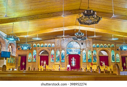 CAIRO, EGYPT - OCTOBER 12, 2014: The interior of the modern church in Coptic quarter, on October 12 in Cairo.