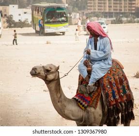 Cairo, Egypt - October 27, 2011: Man riding a camel