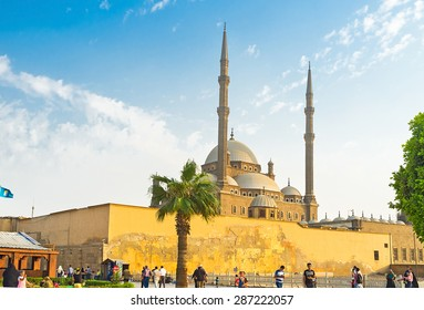 CAIRO, EGYPT - OCTOBER 9, 2014: The pleasure walk in the Saladin Citadel with the view on the Alabaster Mosque, on October 9 in Cairo.