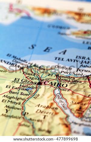 Cairo Egypt On Atlas World Map Stock Photo Edit Now 477899698