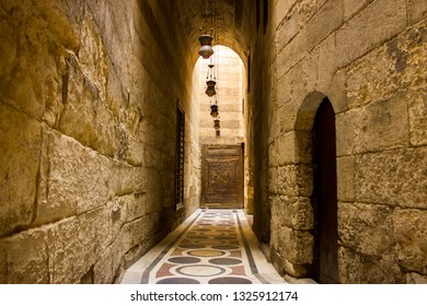 Cairo, Egypt - September 10 2015: old stone Passageway with lantern in Saladin fort