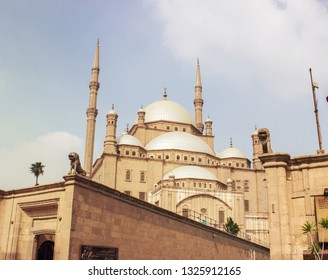 Cairo, Egypt - September 11 2015: Mosque of Muhammad Ali in Saladin Citadel of Cairo with cloud in the sky