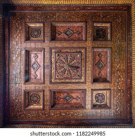 Cairo, Egypt - September 15 2018: Ottoman era decorated wooden ceiling with golden floral pattern decorations at historic House of Egyptian Architecture, located in Dar El Labbana district