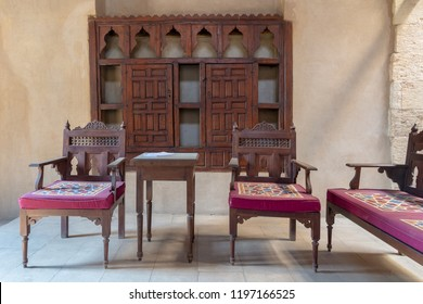 Cairo, Egypt - September 15 2018: VIP Lounge at Ottoman era historic House of Egyptian Architecture, located in Darb El Labbana district, Cairo, Egypt