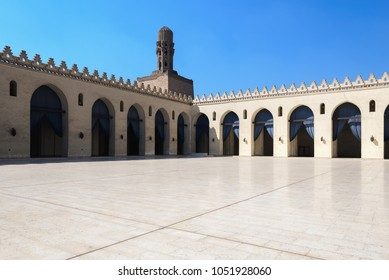 CAIRO - FEB 1: Interior courtyard of the Al-Hakim Mosque in the Islamic quarter on February 1, 2015 in Cairo, Egypt.