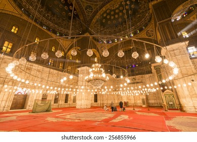 CAIRO - FEB 1: Interior of the Mosque of Muhammad Ali, also known as the Alabaster Mosque, in the Saladin Citadel on February 1, 2015 in Cairo, Egypt.