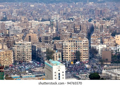 CAIRO - JAN 20: Thousands of protesters march to Cairo's Tahrir Square to mark the first anniversary of the Egyptian uprising on January 20, 2012 in Cairo, Egypt.