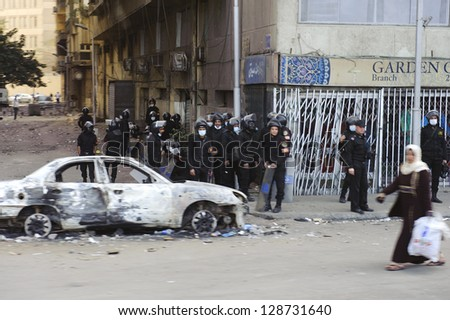 CAIRO - JAN 28: Egyptian polices are on the alert against rioting in downtown in Cairo.Jan 28,2013 in Cairo,Egypt.