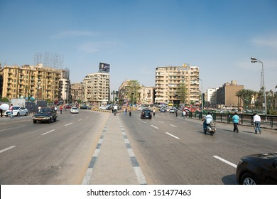 CAIRO - MAY 8: The famous Tahrir square on May 8, 2013 in Cairo, Egypt. Tahrir square -  thousands of protesters made Egyptian uprising in January 2011.