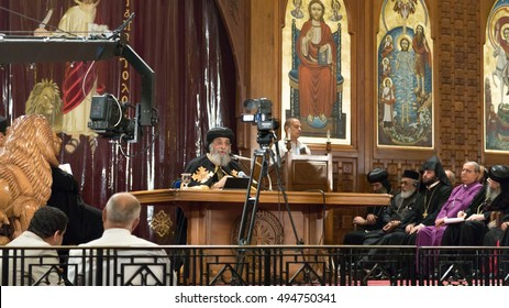 Cairo - October 2014:  The 118th Pope of the Coptic Orthodox Church of Alexandria, Theodoros II, gave a sermon at the St. Mark's Coptic Orthodox Cathedral on October 15, 2014, in Cairo, Egypt.