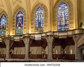 Cairo - October 2014:  The stained glass windows of St. Mark's Coptic Orthodox Cathedral where 118th Pope of the Coptic Orthodox Church of Alexandria held a sermon on October 15, 2014, in Cairo, Egypt.
