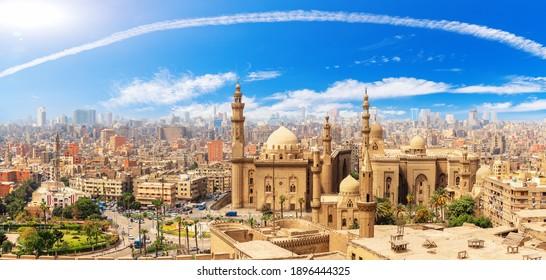 Cairo Panorama, the Mosque Madrassa of Sultan Hassan, Citadel, Egypt