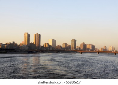 Cairo from the river Nile bridge Sunset