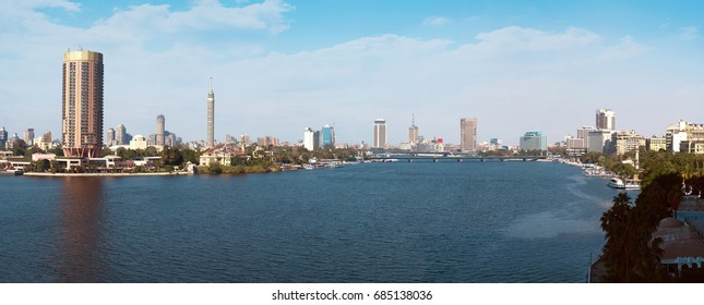 Cairo and River Nile Panorama at Daylight