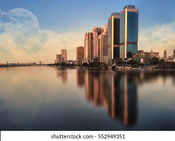 Cairo Skyline Egypt , Nile River with Cloud and Super Moon