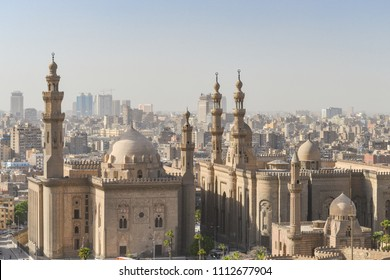 Cairo skyline with Mosque-Madrassa of Sultan Hassan and Al Rifai Mosque foreground - Cairo, Egypt