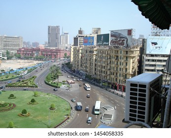 Cairo/Egypt - April 26, 2008: a view of Tahrir Square, traditional venue of the Egyptian capital where there are important buildings such as the Egyptian Museum.