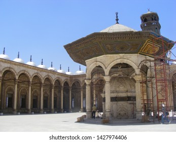 Cairo/Egypt. March 17,2007 : The courtyard of the Grand Mosque of Muhammad Ali, in Cairo Egypt pictured with scaffolding and a partially restored section.