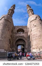 Cairo/Egypt-20-04-2017:Zuweila gate in old Cairo , Bab Zuweila is one of three remaining gates in the walls of the Old City of Cairo, the capital of Egypt.