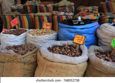 Cairo,Egypt-June 2,2017:  Different types of seeds for sale in a popular market in Cairo called Khan el Khalil