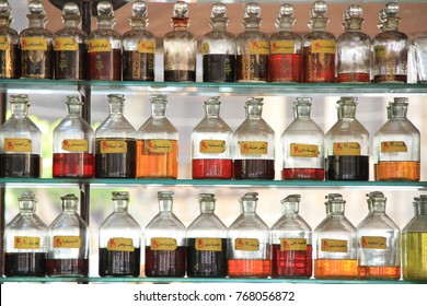 Cairo,Egypt-June 2,2017: Little bottles of perfume in Cairo, with  labels showing the names of the different perfumes.