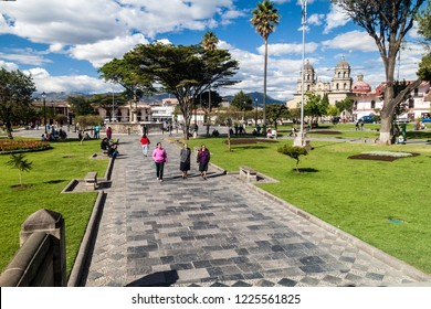 CAJAMARCA, PERU - JUNE 8, 2015: Plaza de Armas square with a cathedral in Cajamarca, Peru.