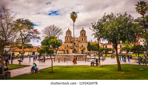 CAJAMARCA, PERU; MAY 21, 2016: Main Square of Cajamarca and St. Francisco Cathedral.