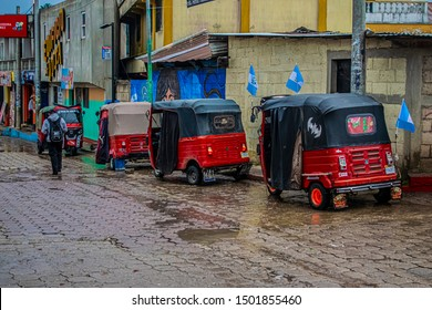 cajola, quetzaltenango, guatemala September 8, 2019, mototaxi tuc tuc, parked in a row and waiting for turns to make trips to people