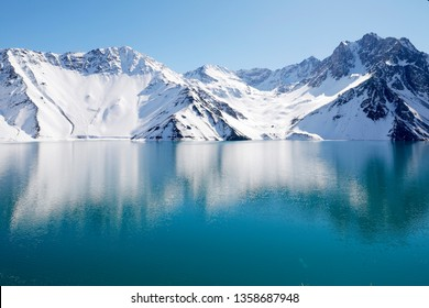 Cajon Del Maipo/Chile - July 23 2018: Embalse El Yeso Lake between the Mountains of the Andes in the Cajon Del Maipo Region, in Chile.
